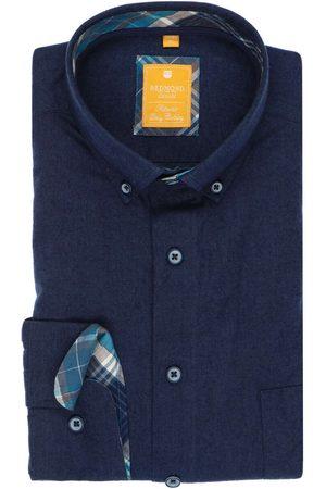 Redmond Heren Casual - Casual Modern Fit Overhemd donkerblauw, Effen