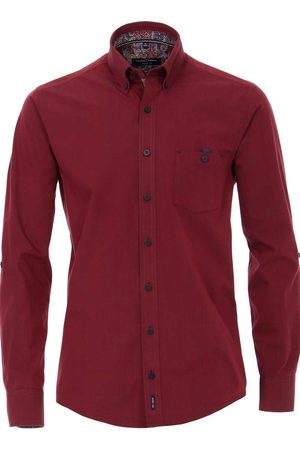 Casa Moda Heren Casual - Casual Fit Overhemd donkerrood, Faux-uni