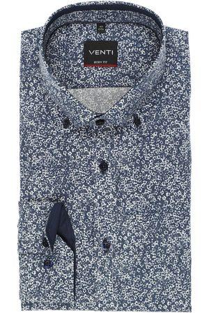 Venti Heren Lange mouwen - Body Fit Overhemd donkerblauw/ , Motief