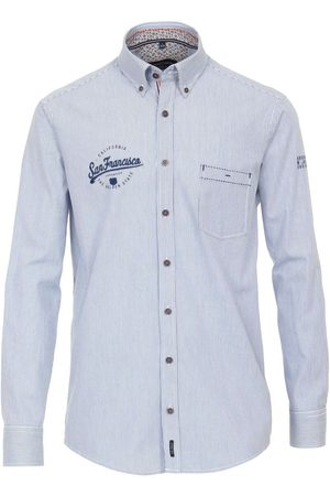 Casa Moda Heren Casual - Casual Casual Fit Overhemd lichtblauw, Gestreept