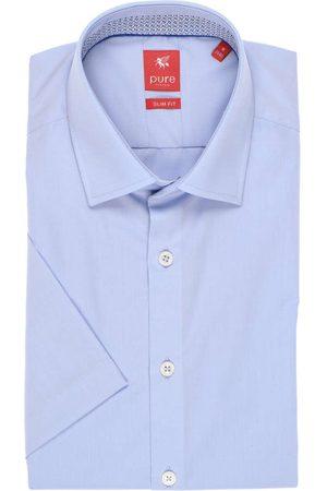 Pure Heren Korte mouwen - Slim Fit Overhemd Korte mouw lichtblauw, Effen