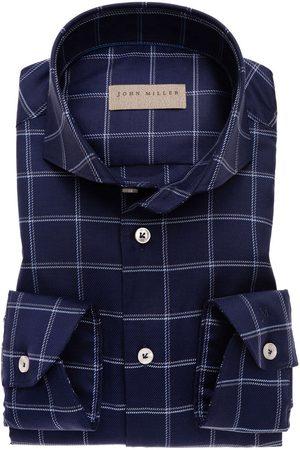 john miller Heren Lange mouwen - Tailored Fit Overhemd marine, Ruit