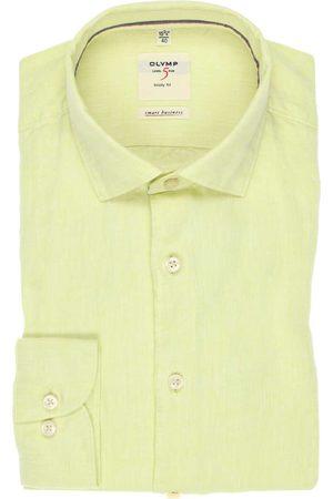 Olymp Level Five smart business Body Fit Overhemd citroengeel, Faux-uni