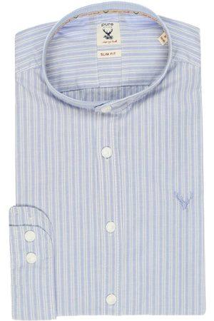 Pure Slim Fit Overhemd lichtblauw, Gestreept