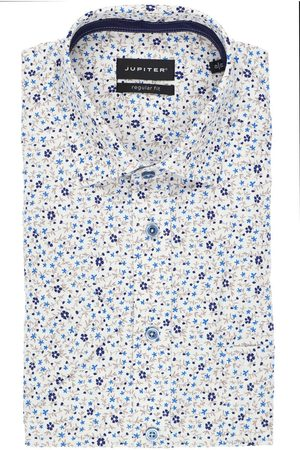 Jupiter Heren Korte mouwen - Regular Fit Overhemd Korte mouw middenblauw, Motief
