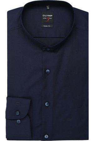 Olymp Heren Lange mouwen - Level Five Body Fit Overhemd nachtblauw, Effen