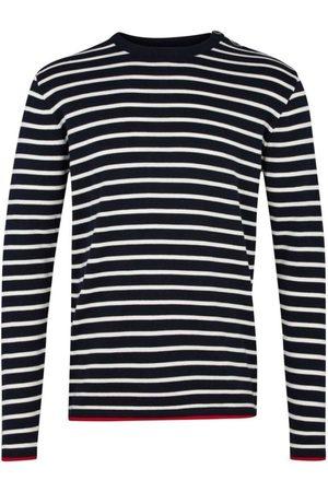 Kronstadt Oscar Slim Fit Sweatshirt ronde hals marine, Gestreept