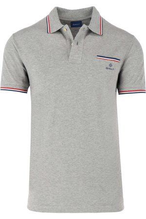 GANT Regular Fit Polo shirt Korte mouw lichtgrijs, Melange