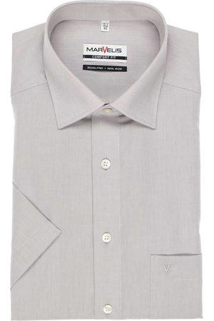Marvelis Comfort Fit Overhemd Korte mouw lichtgrijs, Effen