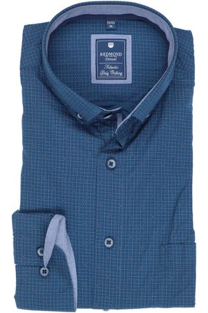 Redmond Casual Regular Fit Overhemd middenblauw, Motief