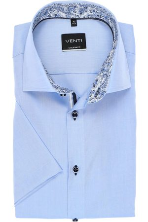Venti Modern Fit Overhemd Korte mouw ijsblauw, Effen
