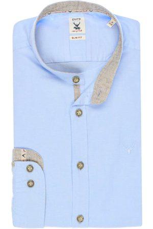 Pure Slim Fit Traditioneel overhemd lichtblauw, Effen