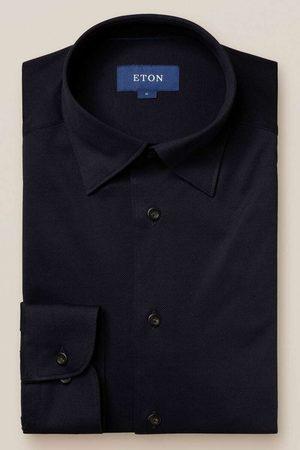 Eton Slim Fit Overhemd donkerblauw, Effen