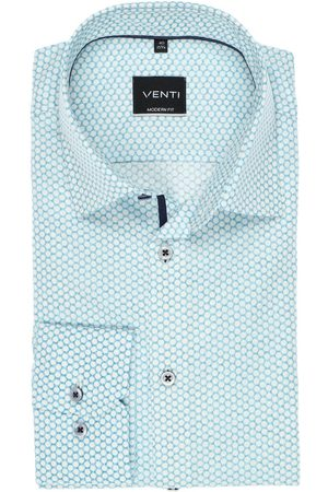 Venti Modern Fit Overhemd turquoise, Motief