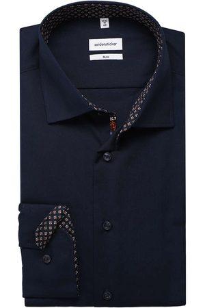 Seidensticker Slim Fit Overhemd donkerblauw, Effen