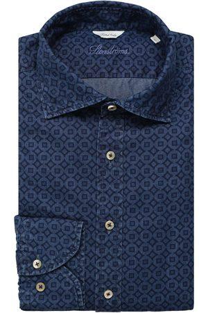 Stenströms Fitted Body Overhemd donkerblauw, Motief