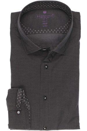 Redmond Slim Fit Overhemd antraciet, Effen