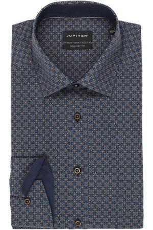 Jupiter Regular Fit Overhemd donkerblauw/lichtbruin, Motief
