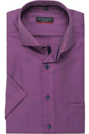 ETERNA Modern Fit Overhemd Korte mouw wijnrood, Gestructureerd