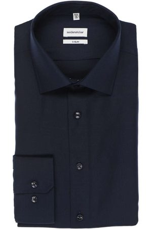 Seidensticker X-Slim Overhemd donkerblauw, Effen