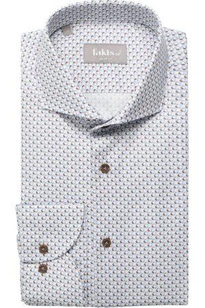 fakts Modern Fit Overhemd lichtgrijs, Motief