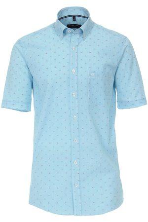 Casa Moda Casual Comfort Fit Overhemd Korte mouw lichtblauw, Gestreept