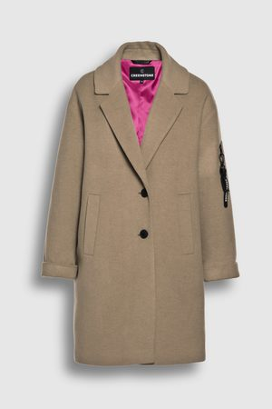 Creenstone Dames Wollen jassen - Wool cashmere cocoon-shaped coat with sleeve zipper detail Milky Cocoa 36