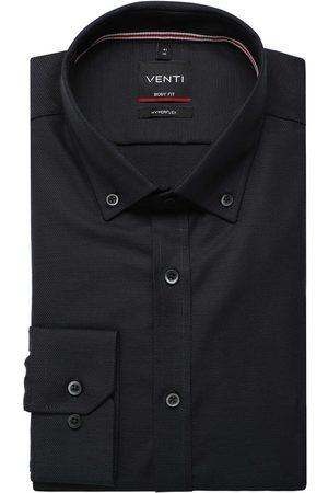 Venti Heren Lange mouwen - Body Fit Overhemd antraciet, Effen