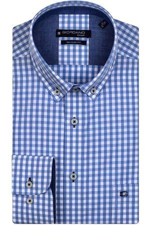 Giordano Heren Lange mouwen - Regular Fit Overhemd lichtblauw, Ruit