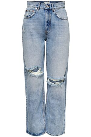 ONLY Dames Straight - Onlrobyn Life Hw Enkel Straight Fit Jeans Dames Blauw