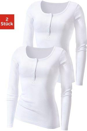 H.I.S Dames Lange mouw - Shirt met lange mouwen met knoopsluiting voor (Set van 2)