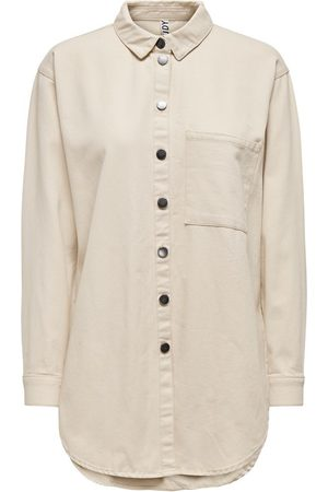 ONLY Dames Shirts - Long Solid Colored Shirt Dames Beige