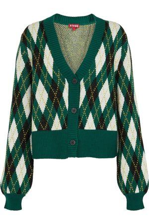 Staud Knave argyle cotton-blend cardigan