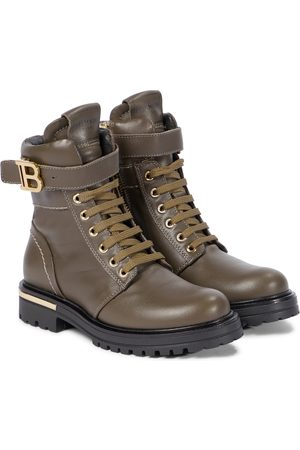 Balmain Buckled leather lace-up boots