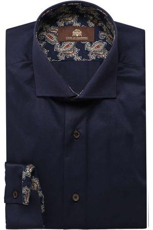 Circle of Gentlemen Heren Lange mouwen - Slim Fit Overhemd donkerblauw, Effen