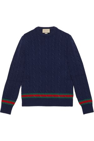 Gucci Cable knit sweater with Web