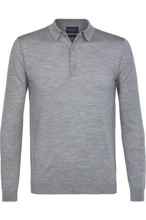 Profuomo Heren polo polo long sleeve grey mel ppsj3a0011