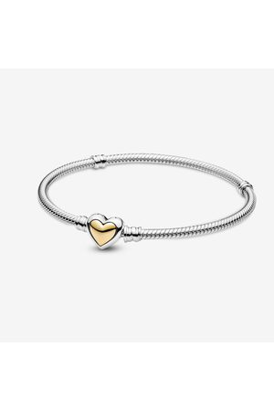 PANDORA Domed Golden Heart Clasp Snake Chain Bracelet, Sieraden, No stone, 599380C00-17