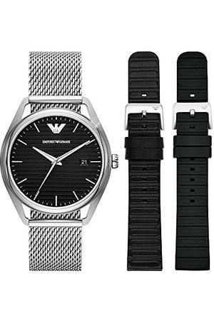 Emporio Armani Roestvrijstalen Herenhorloge met Drie Wijzers en Datum, AR80055