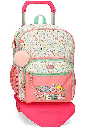 MOVOM Good Vibes rugzak met trolley, roze, 30 x 38 x 12 cm, polyester, 13,68 l