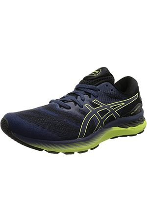 Asics Heren Gel-Nimbus 23 Running Shoe, Thunder Blue/Glow Yellow, 47 EU