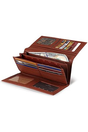 Otto Genuine Leather Ritssluiting Envelope Wallet With Phone Compatible Slots - RFID Blocking -Unisex (Brown)