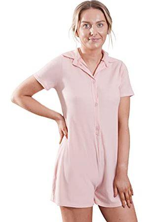 OHS Geborsteld Geribbelde Playsuit Korte Mouw Knop Womens Romper Mini Jumpsuit PJs, Blush - Large