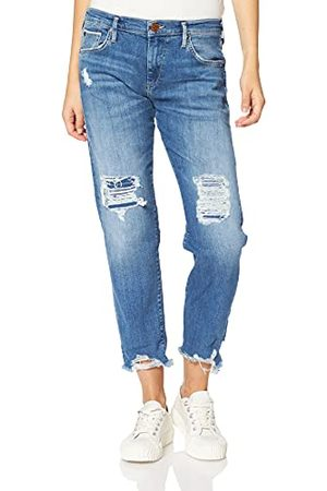 True Religion Dames Liv Boyfriend Rose Gold Selvage Blue Denim Jeans