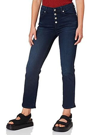 7 for all Mankind Dames The Straight Crop Bair Park Avenue Met Exposed Buttons Jeans