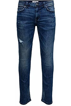 Only & Sons Heren Jeans, Blue Denim, 28W x 32L