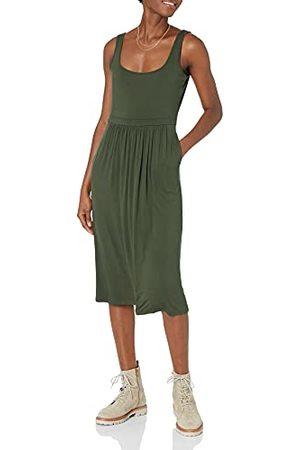 Daily Ritual Amazon Brand - Dagelijks Ritual vrouwen Jersey Mouwloos Empire-taille Midi jurk,Bos ,S