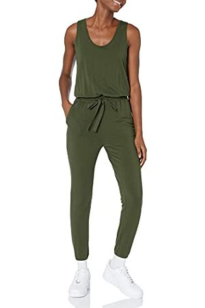 Daily Ritual Dames Supersoft Terry Mouwloos Jumpsuit, (olijf) Fabrikant Maat: S (EU S - M)