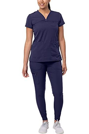 ADAR UNIFORMS Dames Sporttops - Adar Pro Beweging Booster Schrobben Set Voor Dames - liefje V-hals Schrobben Top & Yoga Jogger Schrobben Broek - P9400 - Marine - XL