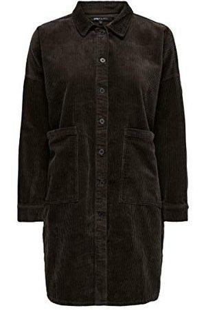 ONLY Vrouwelijk hemd corduroy fluweel, Coffee Bean, S